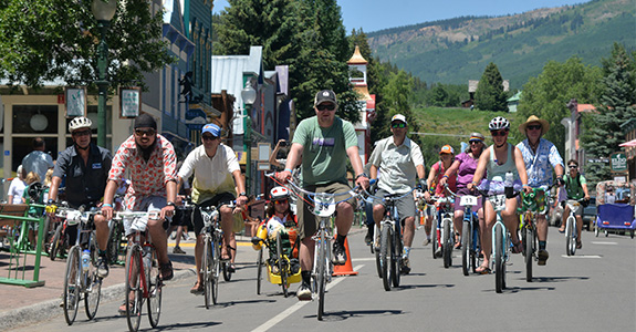 Participants ride in costumes at Bridges of the Butte