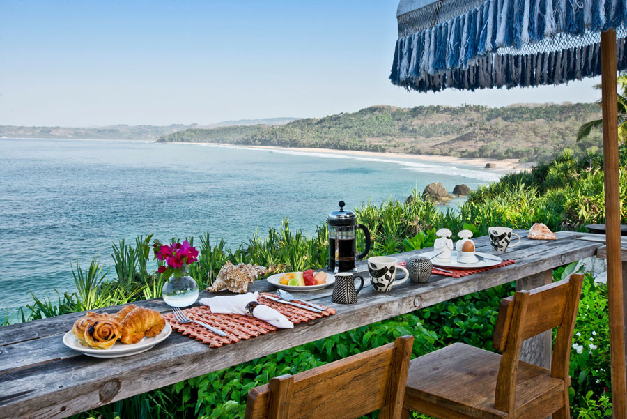 A wonderful view of the beaches of Sumba Island from the comfort of one of the luxurious restaurants