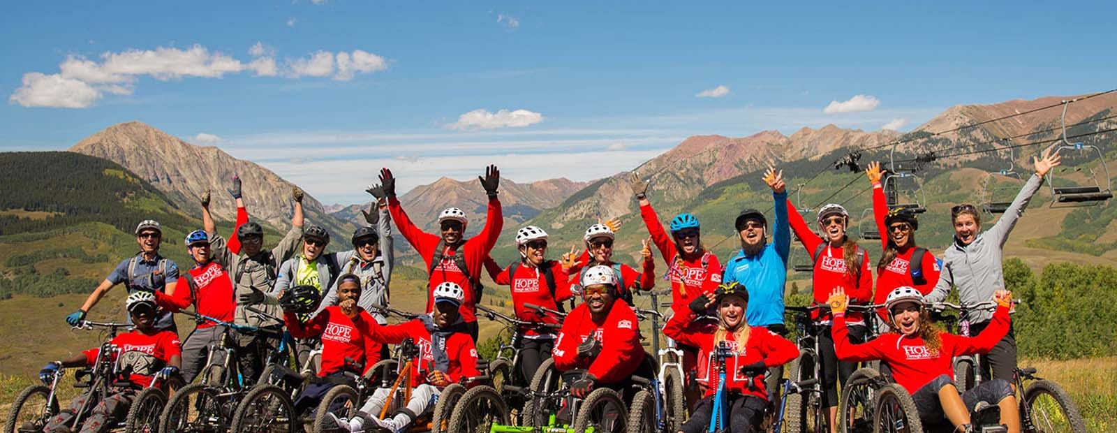 Group of adaptive cyclists on Mount Crested Butte