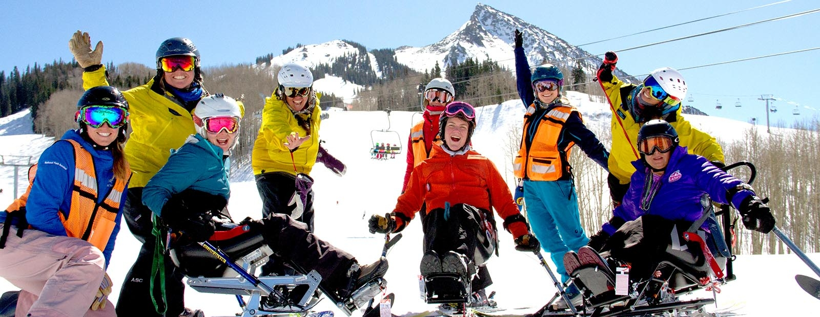 Group of adaptive skiers on Mount Crested Butte