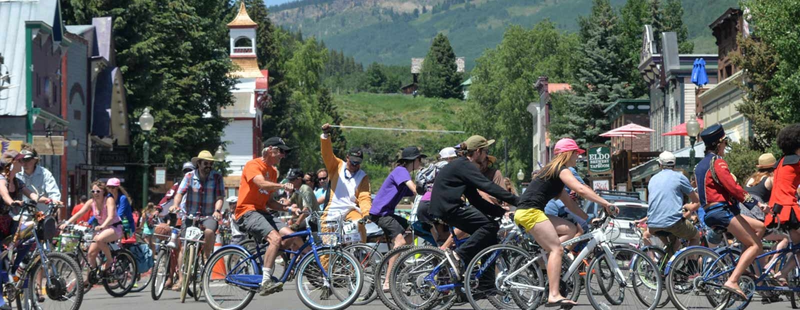 Many people biking in downtown Crested Butte